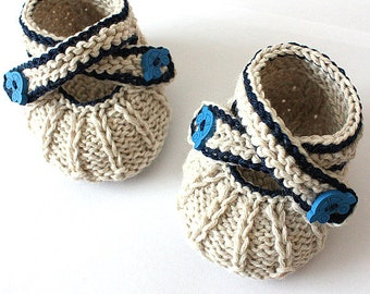 Knitting Pattern (PDF file)  Cross Strap Baby Booties (sizes 0-3/3-6/6-9/9-12 months)