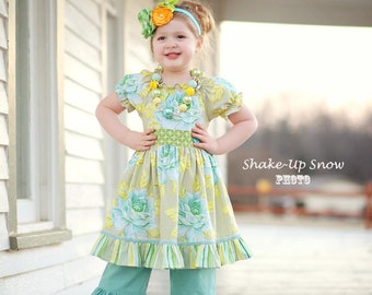 Girls Easter Dress,Little Girls Dress,Spring Dress,Toddler Dress,Girl Rose Garden Twirl Dress,Seafoam,Sizes 12MO,18MO,2T,3T,4T,5T,6,7,8,9,10