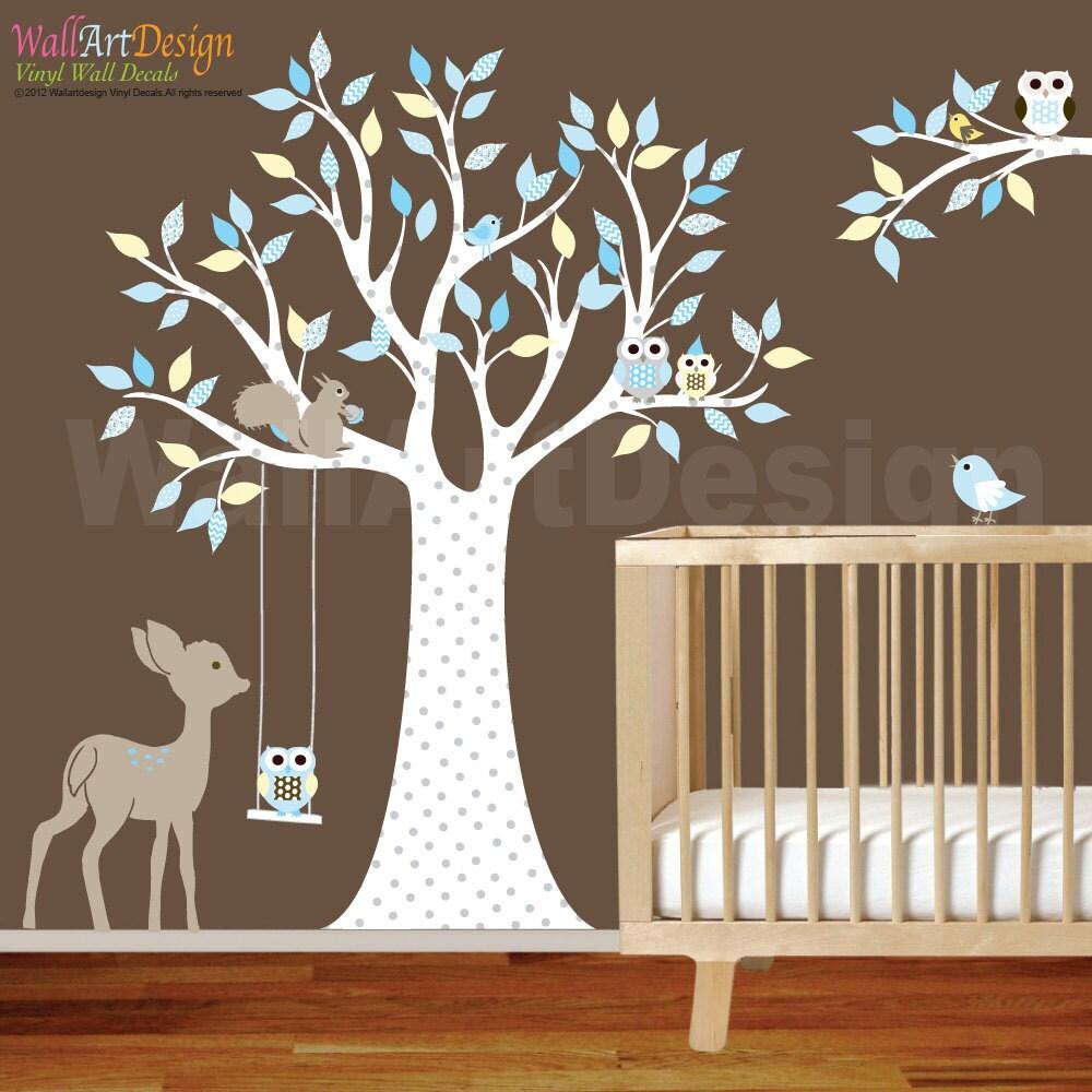 Vinyl Wall Decal Stickers Owl Tree Set Nursery Girls Baby Aqua