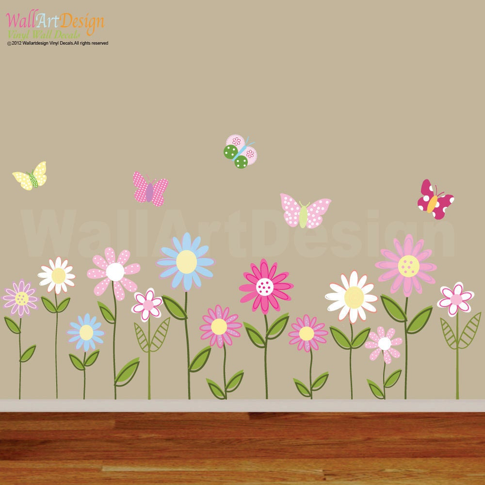 Amaonm? Pink Cherry Blossom Tree Flowers Birds and Butterfly Wall ...