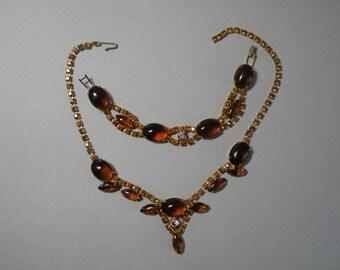 Vintage Amber Necklace & Bracelet Set