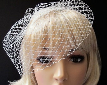 Ivory Russian Veiling Birdcage Veil Pouf Style Bridal Cap with Half Pearl Flatback Cabochon Edge