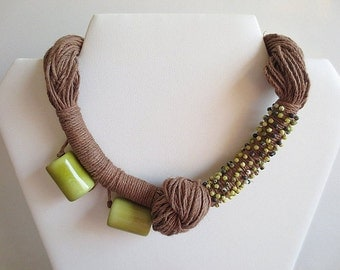 Tagua Nut Necklace, Linen Necklace, Green Tagua Nut Beads, Turquoise Beads Linen Cord
