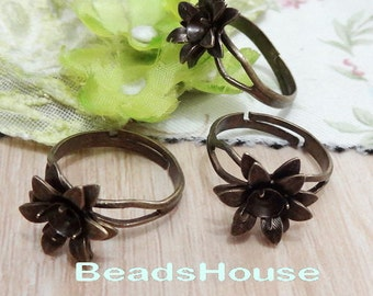 10pcs Adjustable Antique Brass Rings With Flower ,Nickel Free
