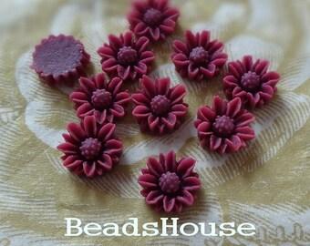 653-00-CA  10pcs Beautiful Resin Flower Cabochon,10mm - Amethsty