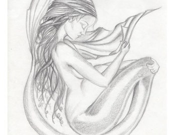 Pregnant Mermaid Congratulations on your pregnancy Card made on recycled paper comes with envelope and seal