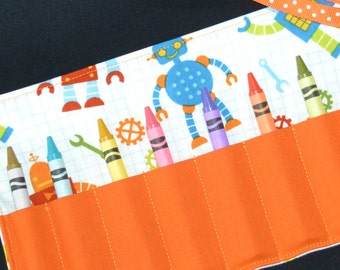 Orange Robot Crayon Roll Party Favors - Robot Birthday - Little Boys Easter Gift - Crayon storage holder keeper - Stocking Stuffer