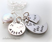 I Love You - To the Moon and Back - Personalized Necklace -  Stainless Steel Name - Heart Moon Coin Pearl - Guess How Much I Love You