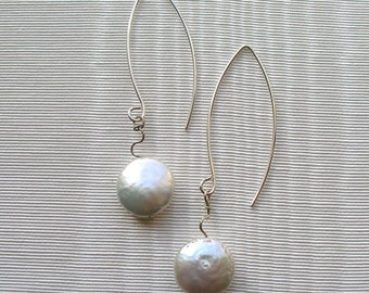 Freshwater Pearl and Sterling Silver Squiggle Earrings