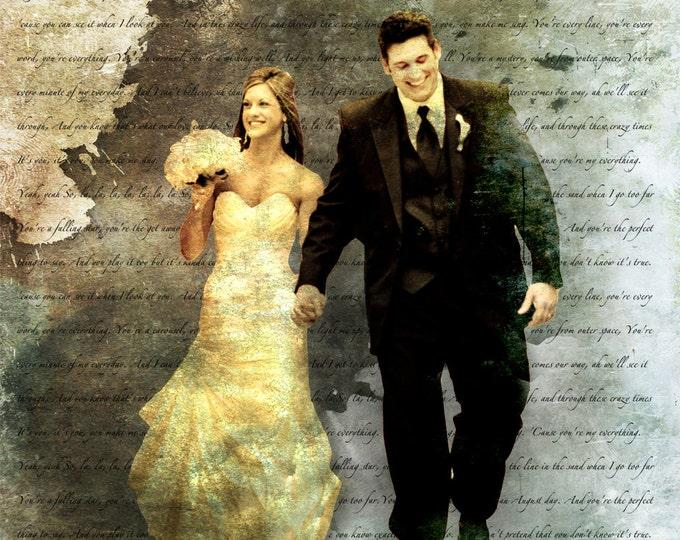 Song Lyric Wedding Vows Custom Canvas Wall Art 20x20
