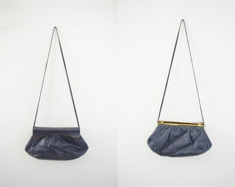 Vintage 70s Purse, 1970s Shoulder Bag, Cross Body Bag, Navy Blue Purse, Blue Handbag, Long Strap Bag, Soft Body Purse