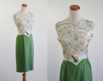 Vintage 60s Dress, Linen Sheath Dress, 1960s Avocado Green Sleeveless Dress, Embroidered Applique Dress, Wiggle Dress, Button Dress, Small