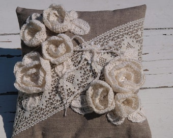 Burlap Ring Pillow Ring Bearer Pillow Natural Linen Wedding Ring Pillow  Rustic Weddings Ring Pillow