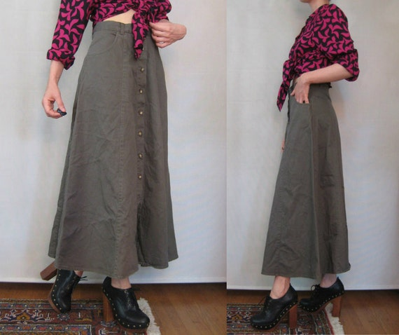 R E S E R V E D Vtg 80s DRAB OLIVE BUTTON Down High Waisted Green Maxi Skirt w/ Pockets xs/s Small s/m 1980s