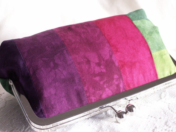 Handmade, hand dyed, cotton, patchwork clutch handbag. Pink, magenta, purple, blue, teal, green. CRAZY QUILT by Lella Rae on Etsy