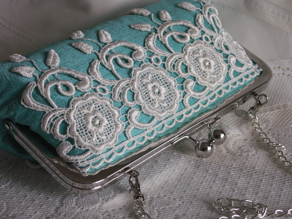 Handmade silk, lace clutch handbag. Aqua, white, purple. YOUNG LOVE  by Lella Rae on Etsy