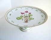 Georges Briard Victorian Garden Cake Stand, Footed Cake Plate, Cyclamen