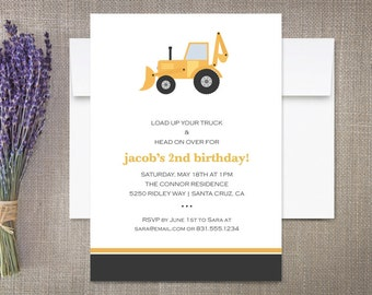 Dump Truck Birthday Party Invitations