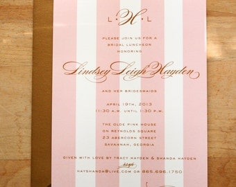 bridal luncheon, bridesmaids' luncheon OR wedding shower invitation - pink and gold / monogram & stripes