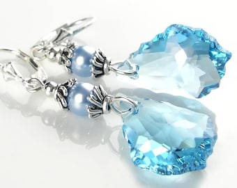 Crystal Aquamarine Earrings Sterling Silver March Birthstone Aqua Blue Swarovski Crystal Aquamarine Dangle Drop Earrings