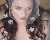 FLOATING PETALS Small White Silk and Organza Violets Flower Clips