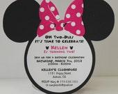 Minnie Mouse Birthday Invitations | Invitation | Pink Polka Dot Bow Set