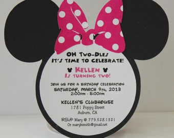 PINK Minnie Mouse Birthday Invitations |  Pink Polka Dot Bow| Invitation QTY 10-50