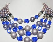4 Strand Acrylic Cobalt Blue beaded necklace Apparel & Accessories Jewelry Vintage Jewelry Necklace