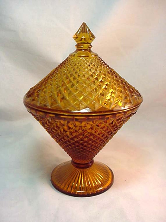 Westmoreland Amber Glass English Hobnail Lidded Candy Dish 1930s