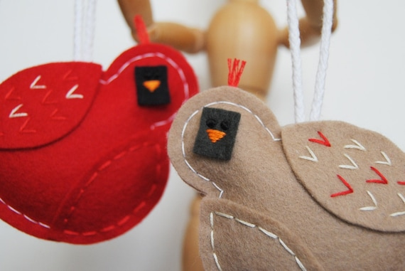 ON SALE - Tufted Cardinal Bird Ornaments - Set of 2 - Woodland Animal Ornaments - Couple Wedding Love