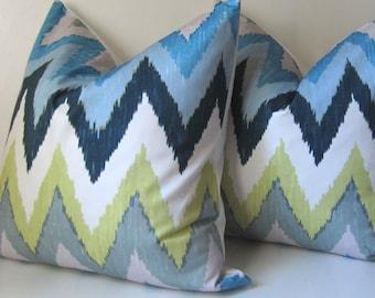 Adras Ikat Sky - Decorative Pillow Covers - 20 inch - SALE - Set of Two - Sky - Martyn Bullard - Schumacher - ready to ship