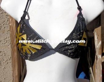 black Legend of Zelda triforce splatter swimsuit bikini TRIANGLE TOP