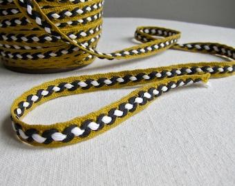 Vintage Cotton Trim Braided Gimp Tape Ribbon Black White Gold Mustard Yardage - 5 Yards