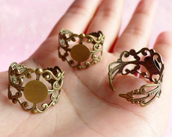 Filigree Ring Blank Findings with 8mm Pad (5 pcs / Bronze) Adjustable Blank Ring Base Jewellery Making Jewelry Findings Ring Supplies F020