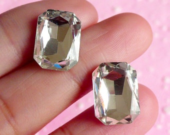 Rectangular Crystal Tip End Rhinestones (10mm x 14mm / Clear / 2 pcs) Wedding Jewelry Making Kawaii Cell Phone Deco Decoden Supplies RHE005
