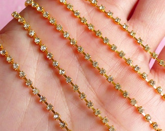 Rhinestones Chain 2mm SS6 (Gold Plated w/ Clear Rhinestones) (20cm Long) Wedding Jewelry Making Bling Bling Deco Decoration RC05