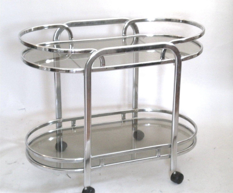 Mid Century Chrome Bar Cart Art Deco Style