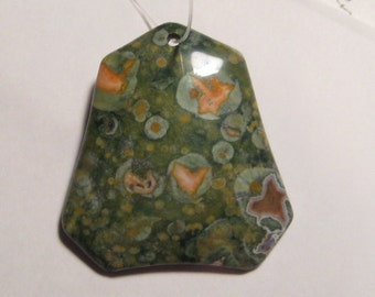 Rain forest Jasper  bead...........  41 x 39 x 6 mm ......    a538