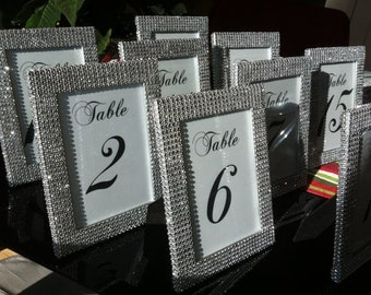 set of 1 5 x 7 frames in silver rhinestone and 1 table number wedding or special event