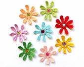 Crochet flower appliques - colorful flowers embellishments - cotton flowers - cotton appliques - kids party decorations - set of 8  ~2 in