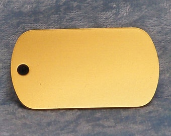 Tag, gold anodized aluminum, military style, FREE custom engraving