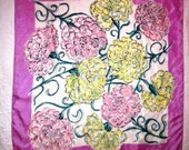 1950s Pink and Green Mums Silk Scarf - Purple Border