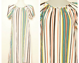 70s Striped Dress Terrycloth Medium Large Retro Hippie Boho Shabby Chic
