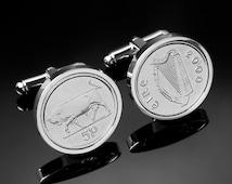 19th Wedding Anniversary- 1996 Irish Gift. Ireland 5p Coin Cufflinks