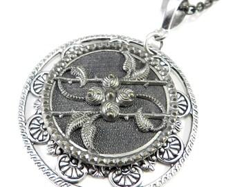 Victorian Button Necklace - Blue Hematite Steel Pendant - Antique Picture Button Necklace - Large Pendant
