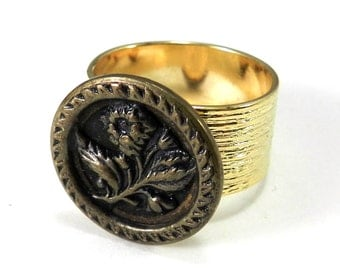 Victorian Button Ring, Antique Button, Bold Bronze Blossom, Vintage Button Jewelry, Gold Plate Etched Band