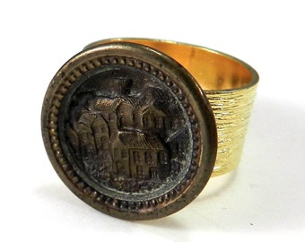 Victorian Ring, Victorian Button Ring, Antique Button, Storytime Picture Button, Vintage Button Jewelry, Gold Band