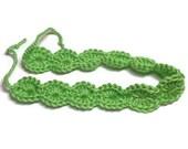 LIME GREEN Adult Crochet Headband - Adult Size Ladies Boho Womens Hippie Hair Band Bohemian