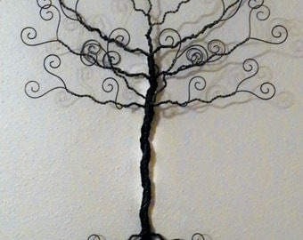 Jewelry tree, wire wall hanging, earring hanger, necklace organizer, photo display, family tree, tree of life, 24 inches.
