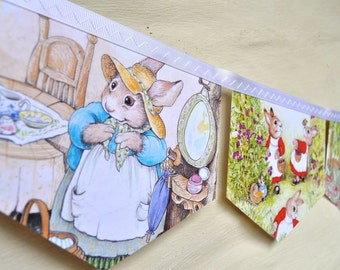 The TALE of PETER RABBIT Banner Easter Vintage Little Golden Book Bunting Children Party Decoration Repurposed Eco Nursery baby shower